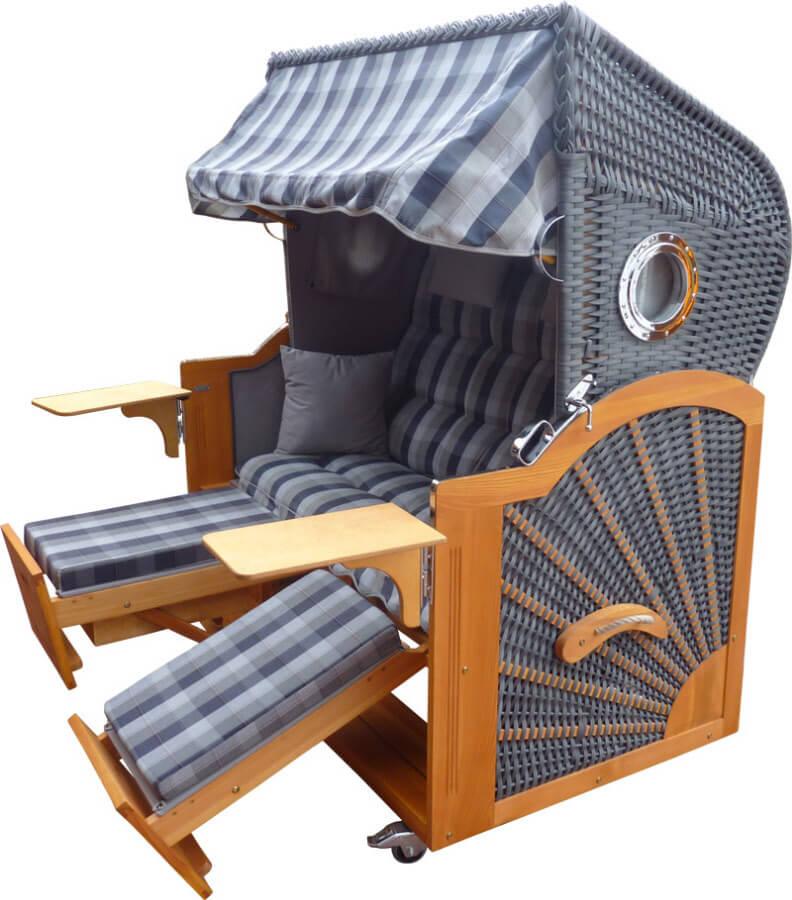 extraklasse strandkorb pe dunkelgrau geflecht 48414 seitl. Black Bedroom Furniture Sets. Home Design Ideas